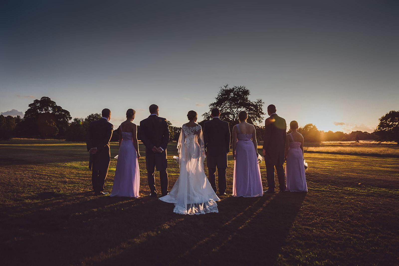 mottram hall wedding golden hour