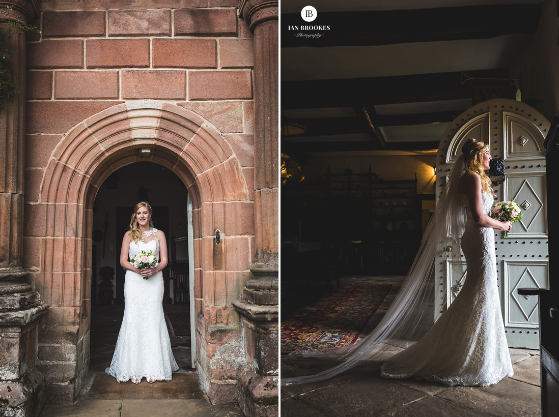 the bride Browsholme Hall and Tithe Barn