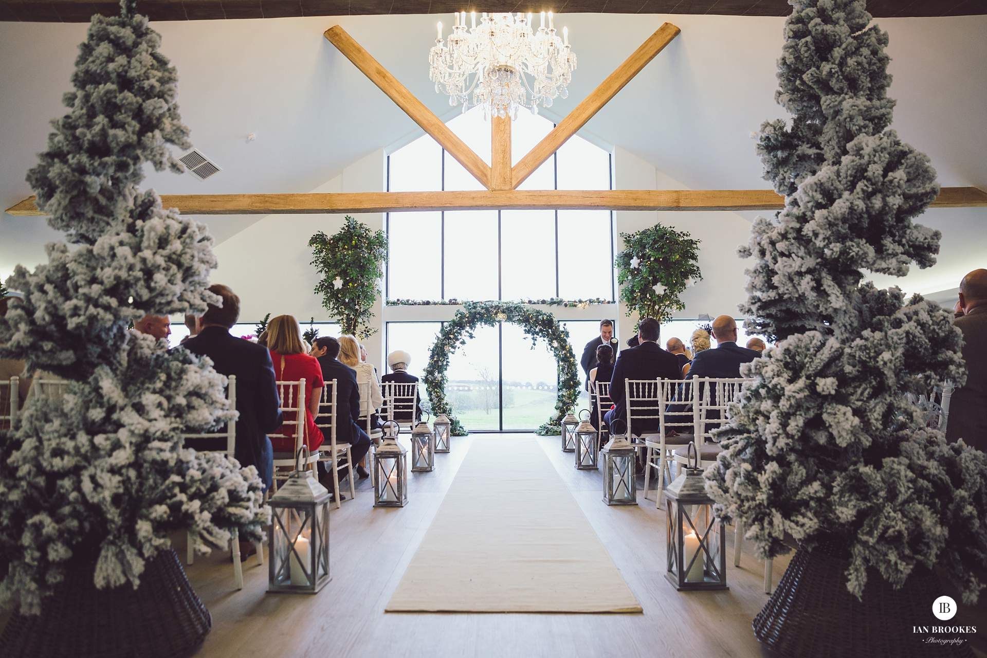winter themed wedding the glass house staining