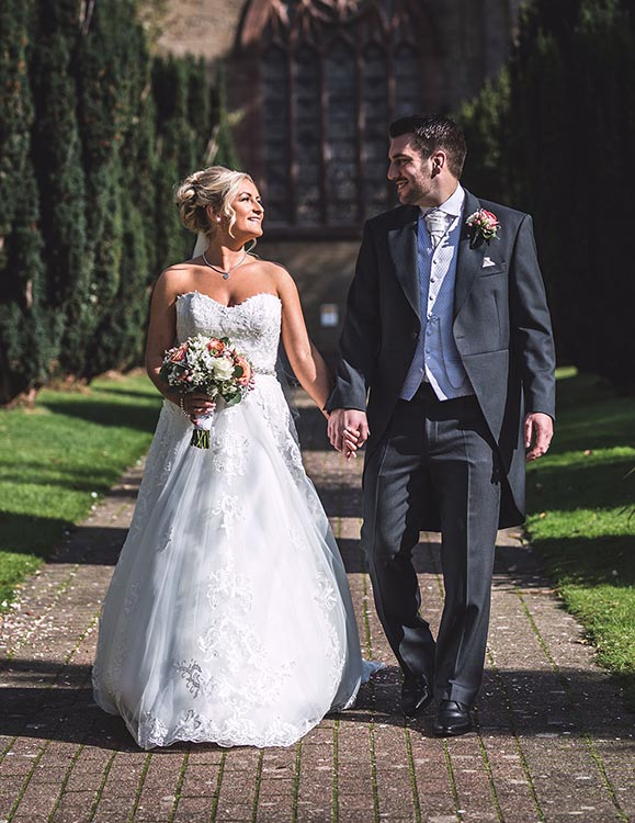 bartle hall bride and groom church